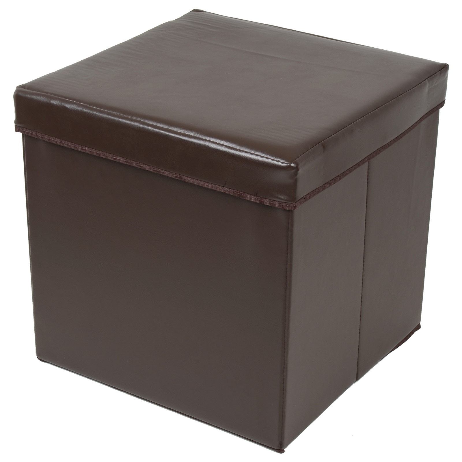 Ottoman Large Faux Leather Folding Storage Pouffe Toy Box Foot For Pouffes And Footstools For Sale (Image 10 of 15)