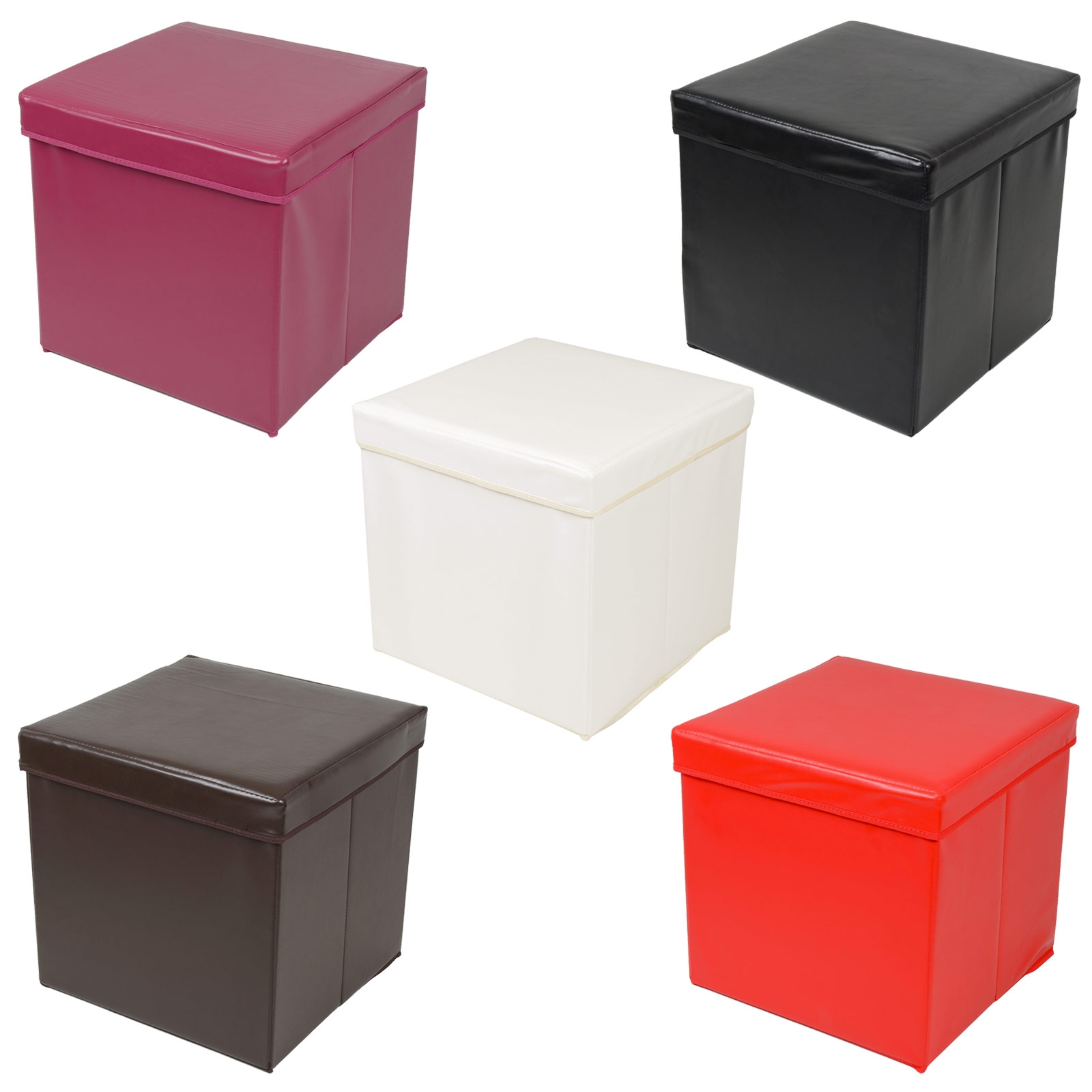 Ottoman Large Faux Leather Folding Storage Pouffe Toy Box Foot Pertaining To Pouffes And Footstools For Sale (Image 12 of 15)