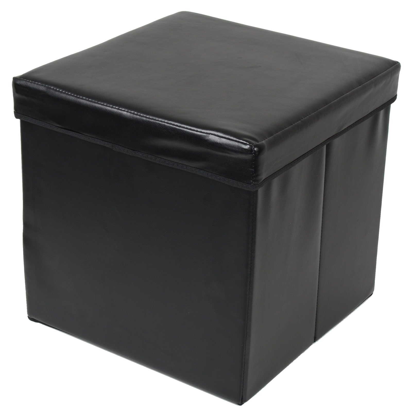 Ottoman Large Faux Leather Folding Storage Pouffe Toy Box Foot Pertaining To Pouffes And Footstools For Sale (Image 11 of 15)