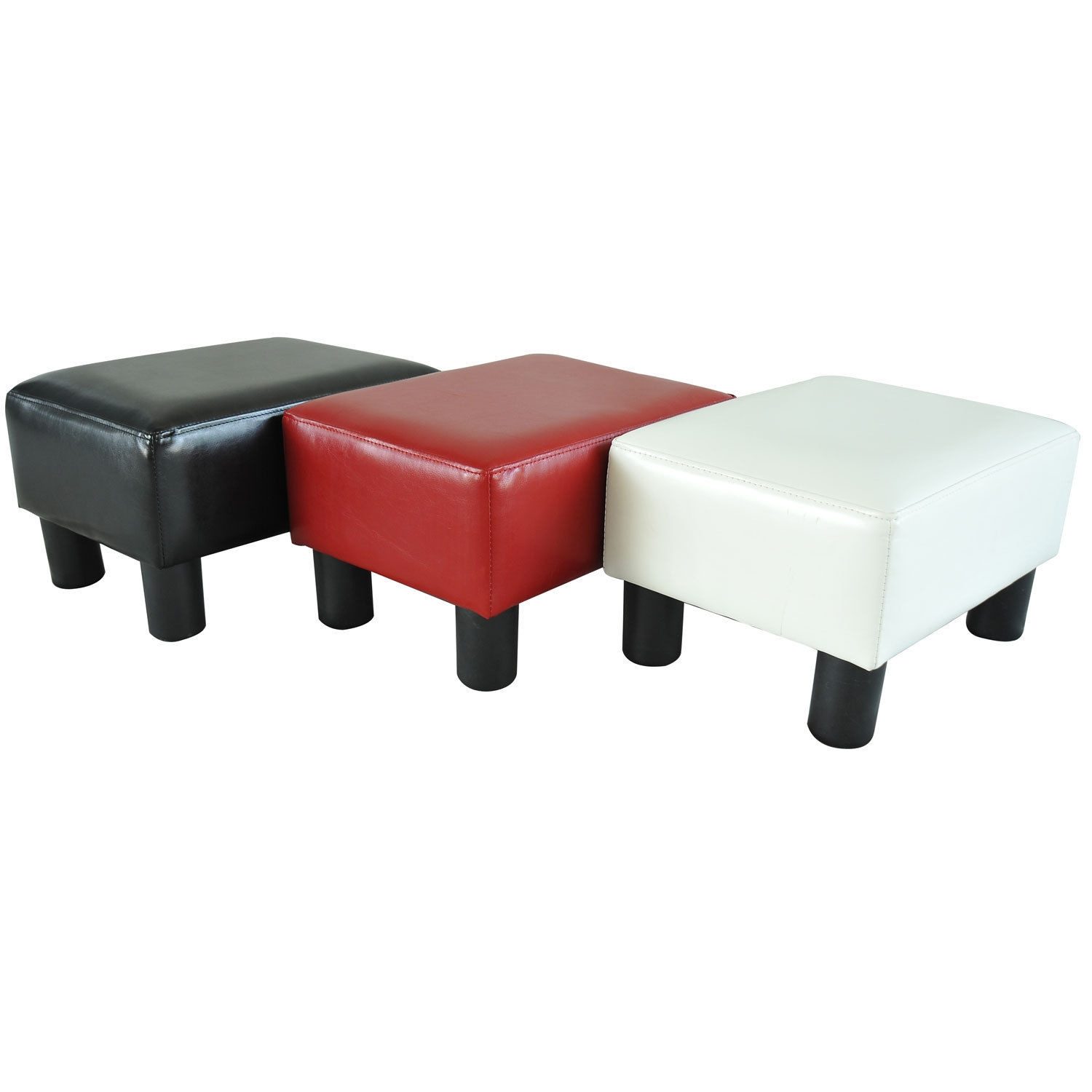 Ottomans Footstools And Poufs 20490 Modern Faux Leather Ottoman In Leather Footstools And Pouffes (Image 12 of 15)