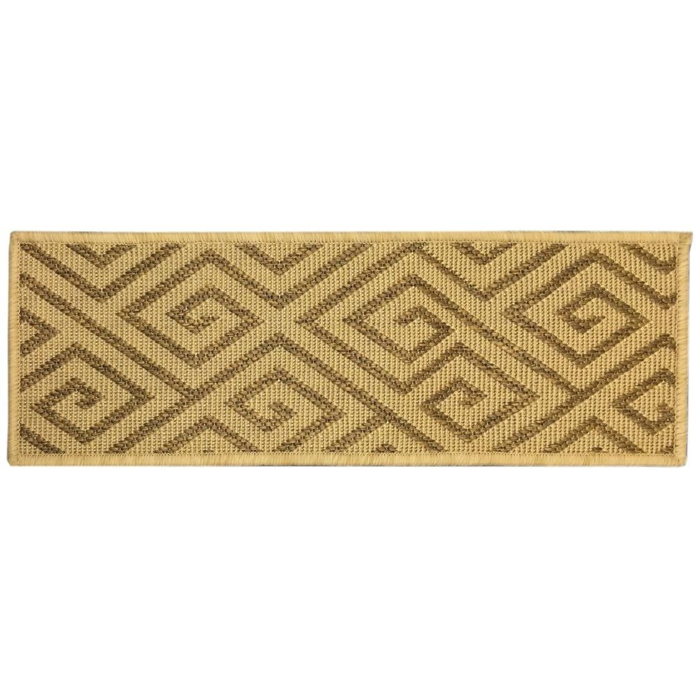 Ottomanson Jardin Collection Geometric Design Beige 9 In X 26 In Intended For Indoor Outdoor Carpet Stair Treads (View 10 of 15)