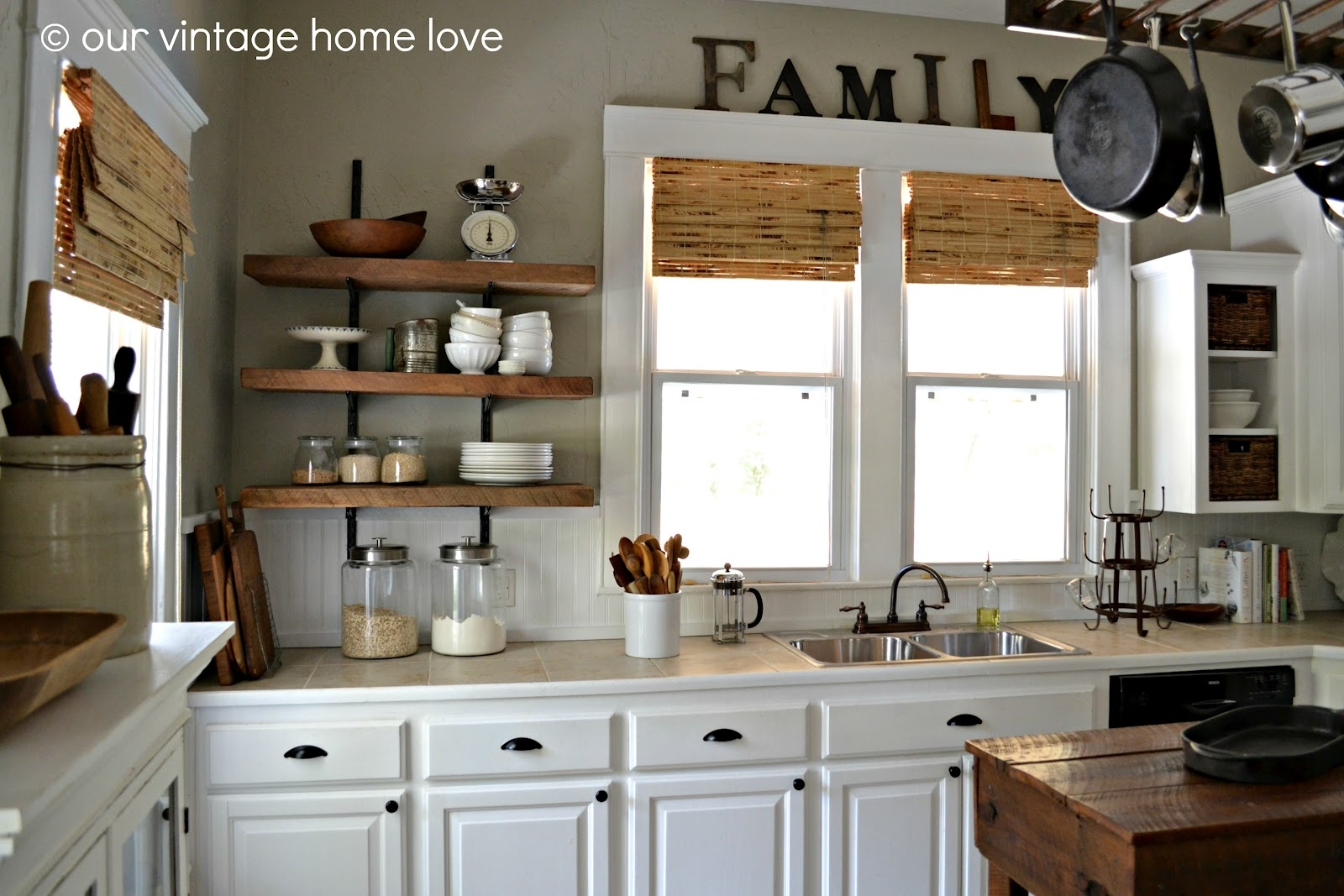 Our Vintage Home Love Reclaimed Wood Kitchen Shelving Reveal For Kitchen Shelves (Image 9 of 15)