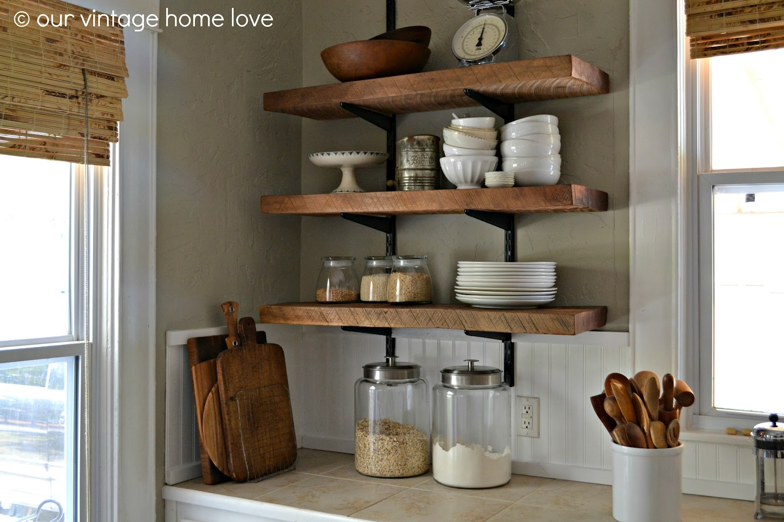 Our Vintage Home Love Reclaimed Wood Kitchen Shelving Reveal Throughout Kitchen Shelves (Image 10 of 15)