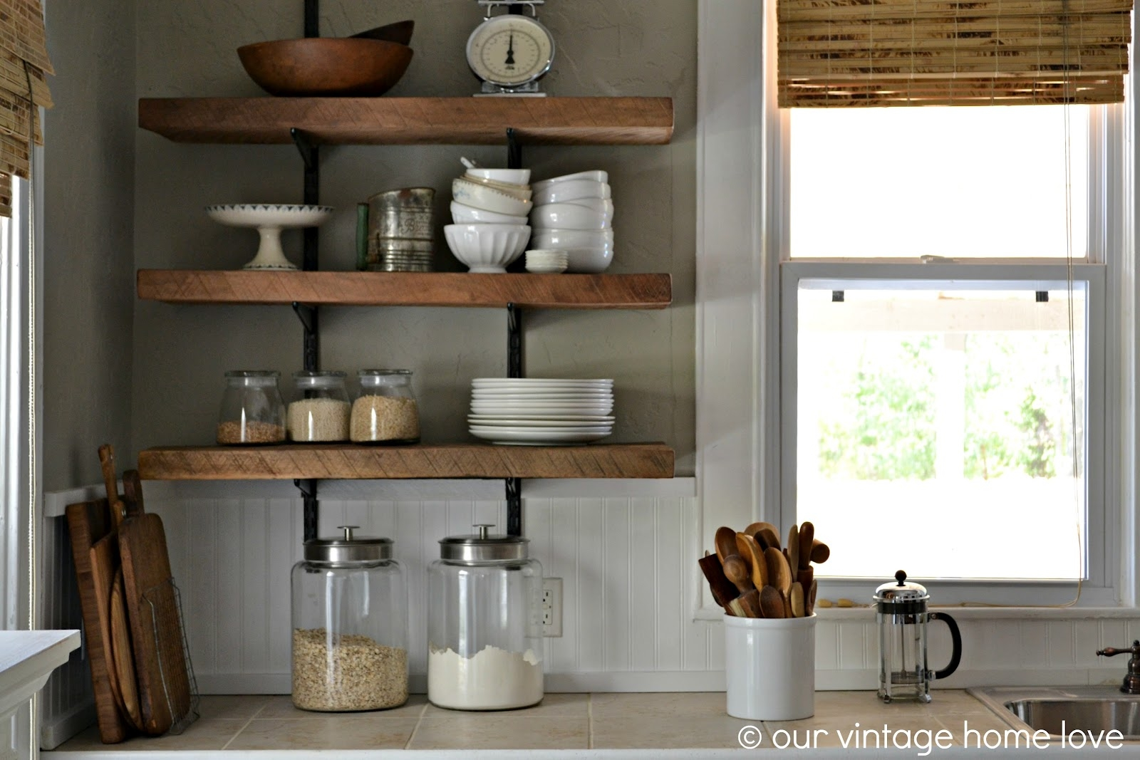 Our Vintage Home Love Reclaimed Wood Kitchen Shelving Reveal With Kitchen Shelves (Image 11 of 15)