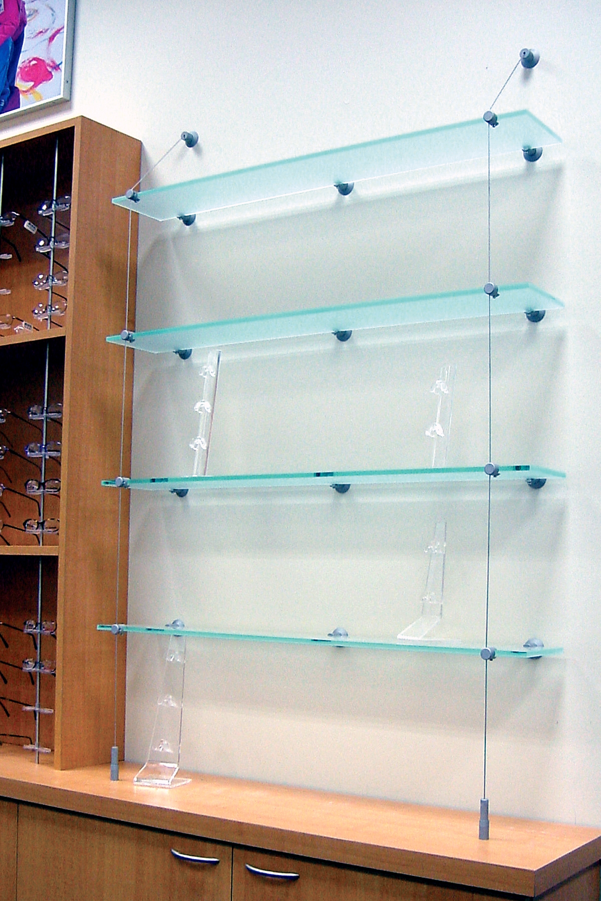 Outwaters Easy To Install Cable Shelving Signage Hardware Is An For Suspended Glass Shelves (Image 7 of 15)