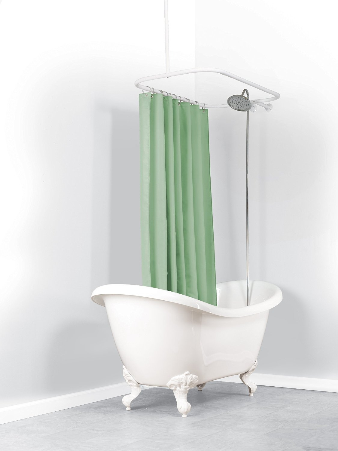 Oval Shower Curtain Rods Shower Curtains Plus In Claw Tub Shower Curtains (Image 19 of 25)