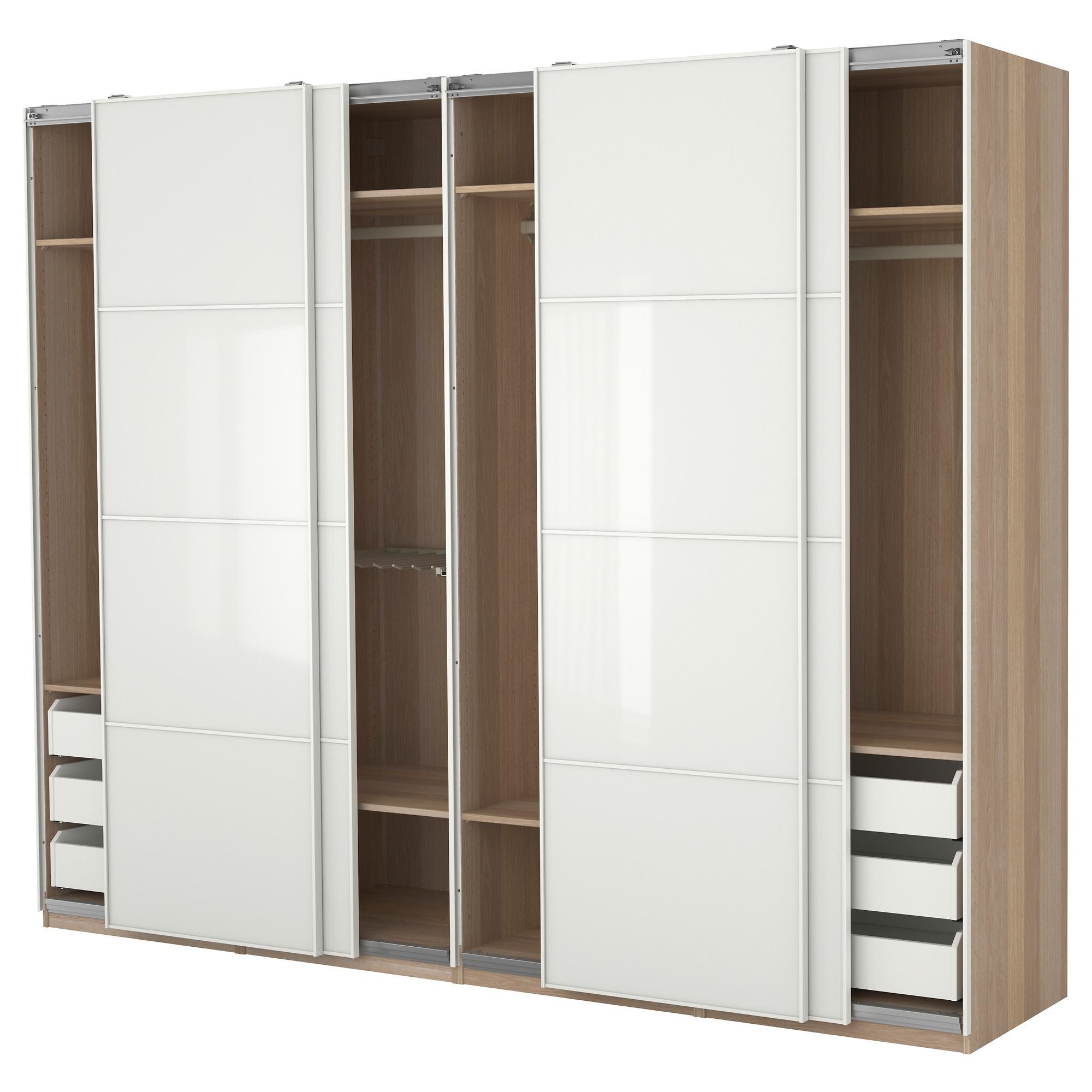Oversized White Lacquer Glossy Solid Wood Tall Wardrobe Closet For Solid Wood Wardrobe Closets (Image 16 of 25)