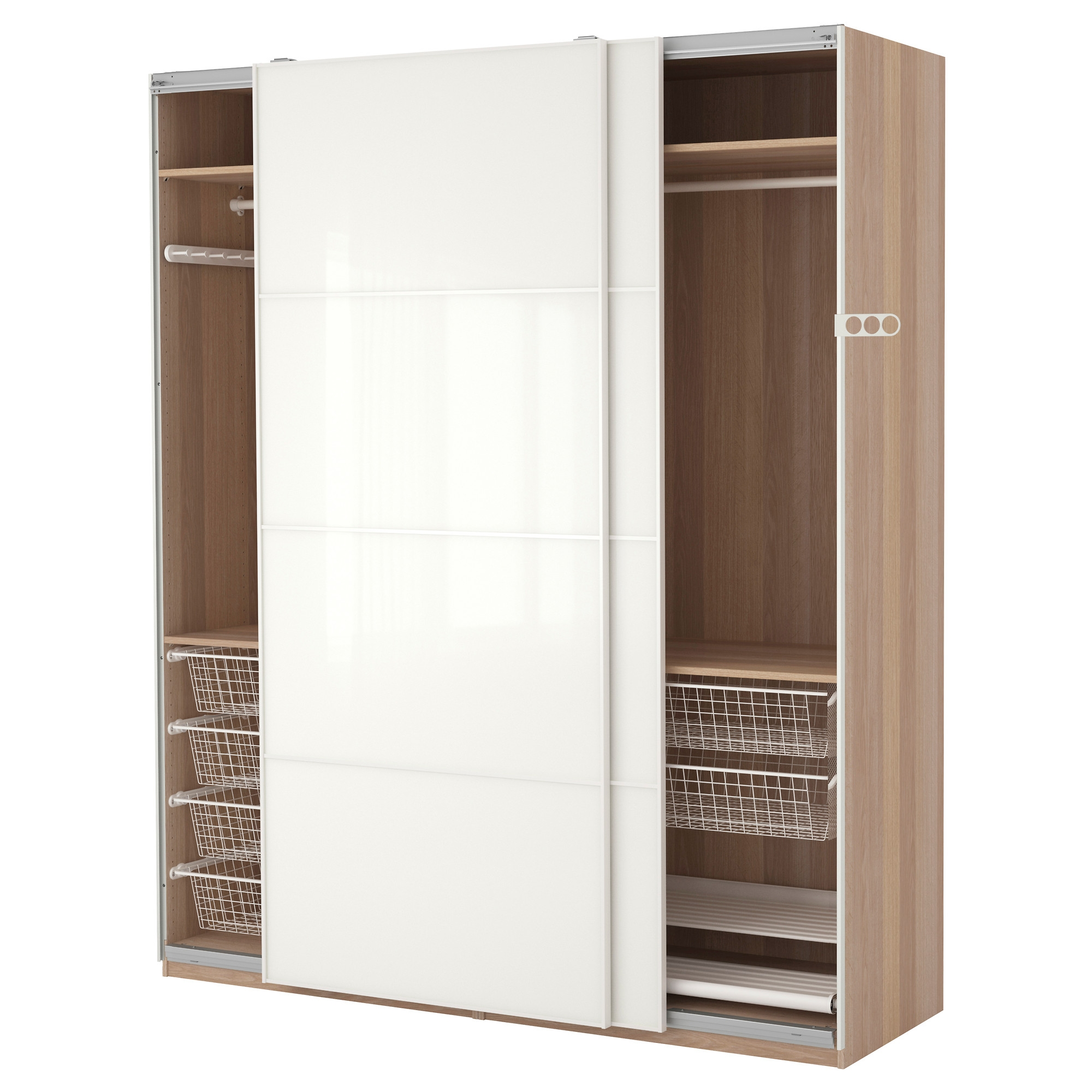 Oversized White Lacquer Glossy Solid Wood Tall Wardrobe Closet With Regard To Solid Wood Wardrobe Closets (Image 17 of 25)