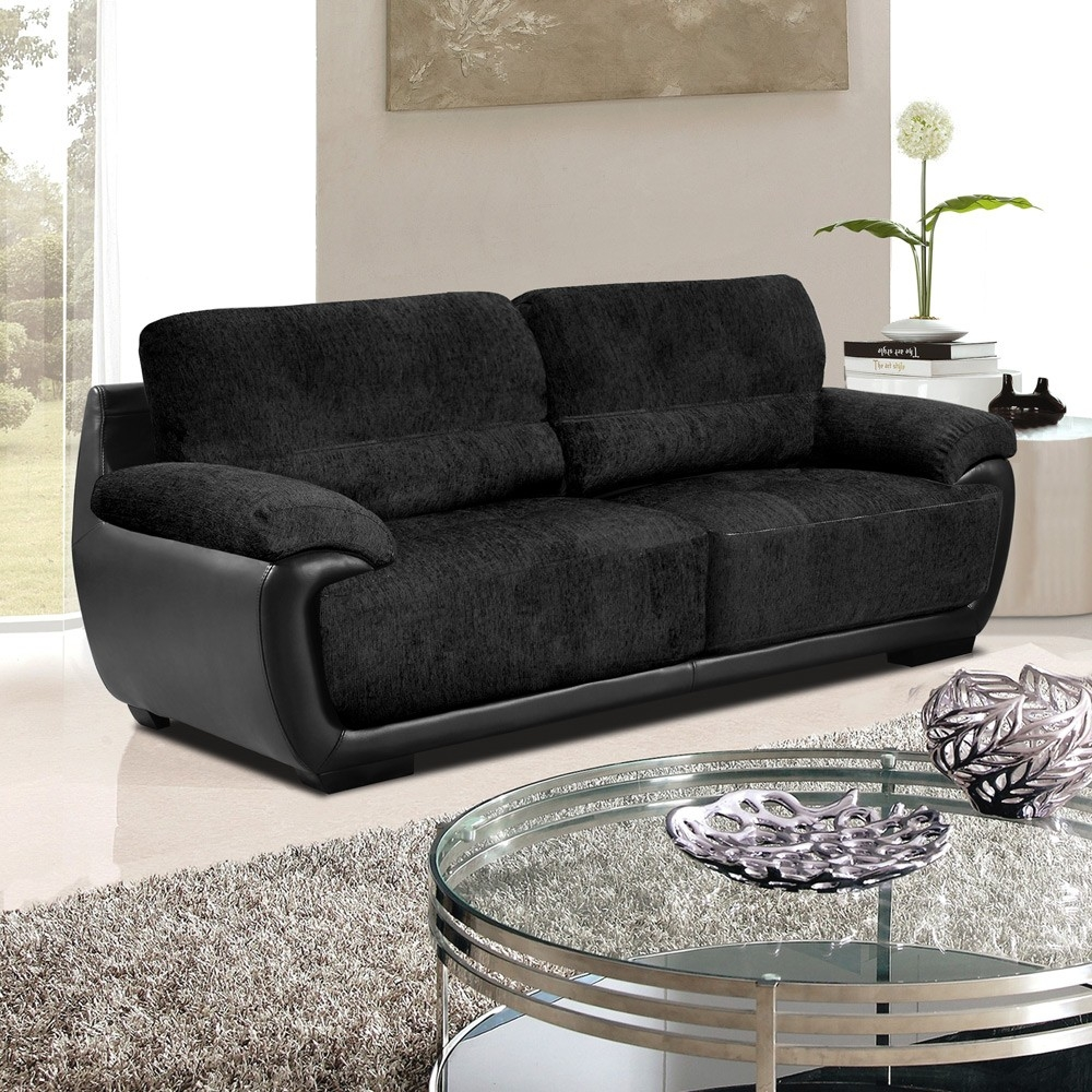 Overton Chenille Black Fabric Sofas With Black Leather Match Trim With Regard To Fabric Sofas (Image 13 of 15)