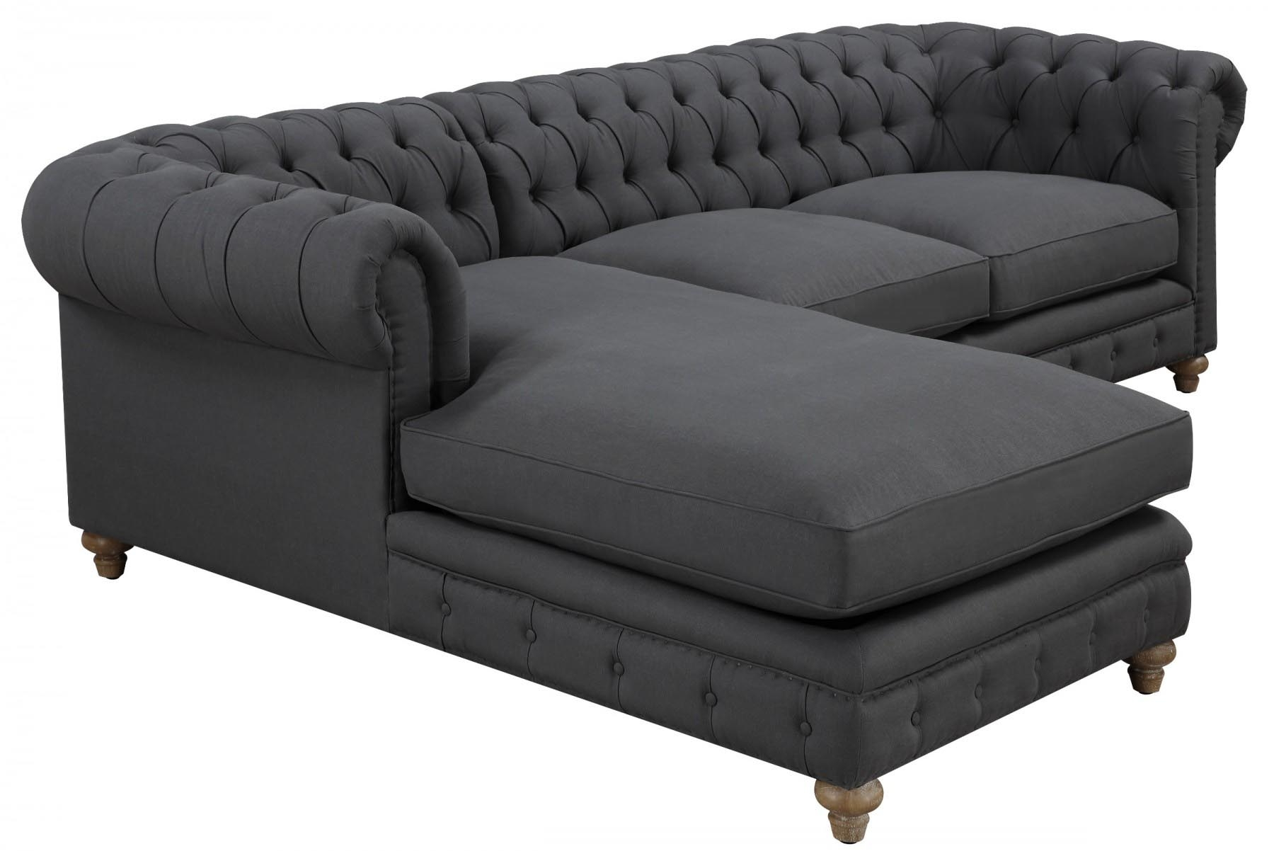 Oxford Grey Linen Sectional Sofa Tov Furniture Modern Manhattan In Oxford Sofas (Image 8 of 15)