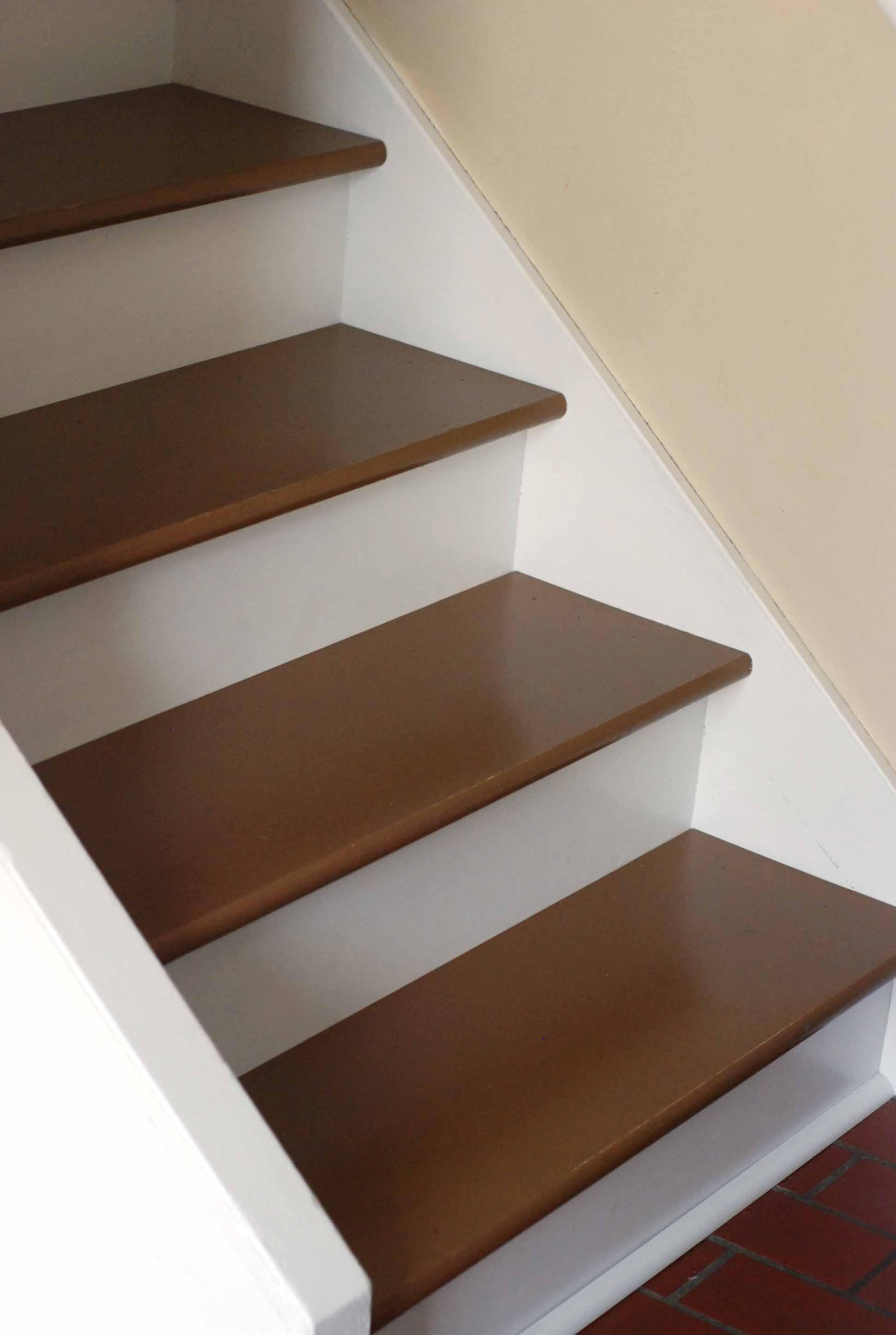 Painted Steps Stairs Diy Makeover One Cherry Tree Lane With Regard To Brown Stair Treads (Image 5 of 15)
