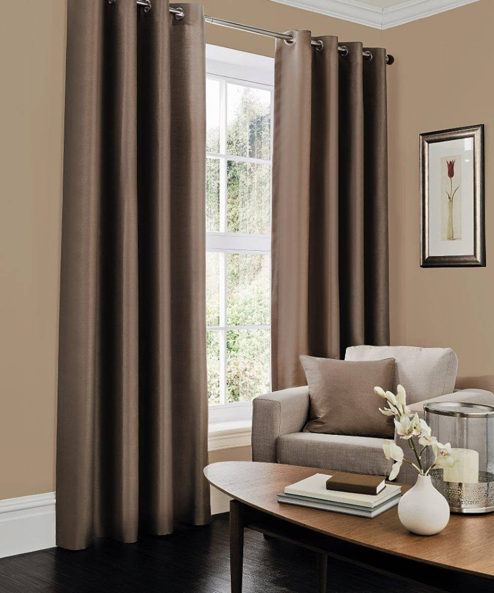 Pair Blackout Faux Silk Curtains Brown Intended For Brown Eyelet Curtains (Image 17 of 25)