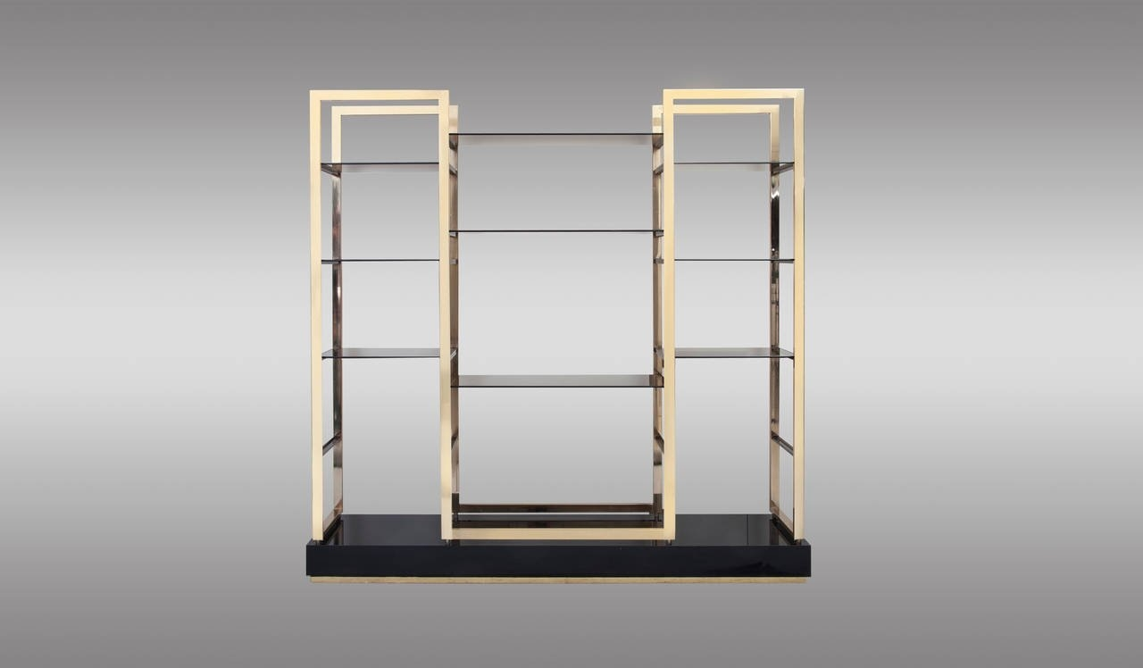 Pair Of Etageres In Solid Gold Plated Steel Structure With Smoked For Smoked Glass Shelves (View 15 of 15)