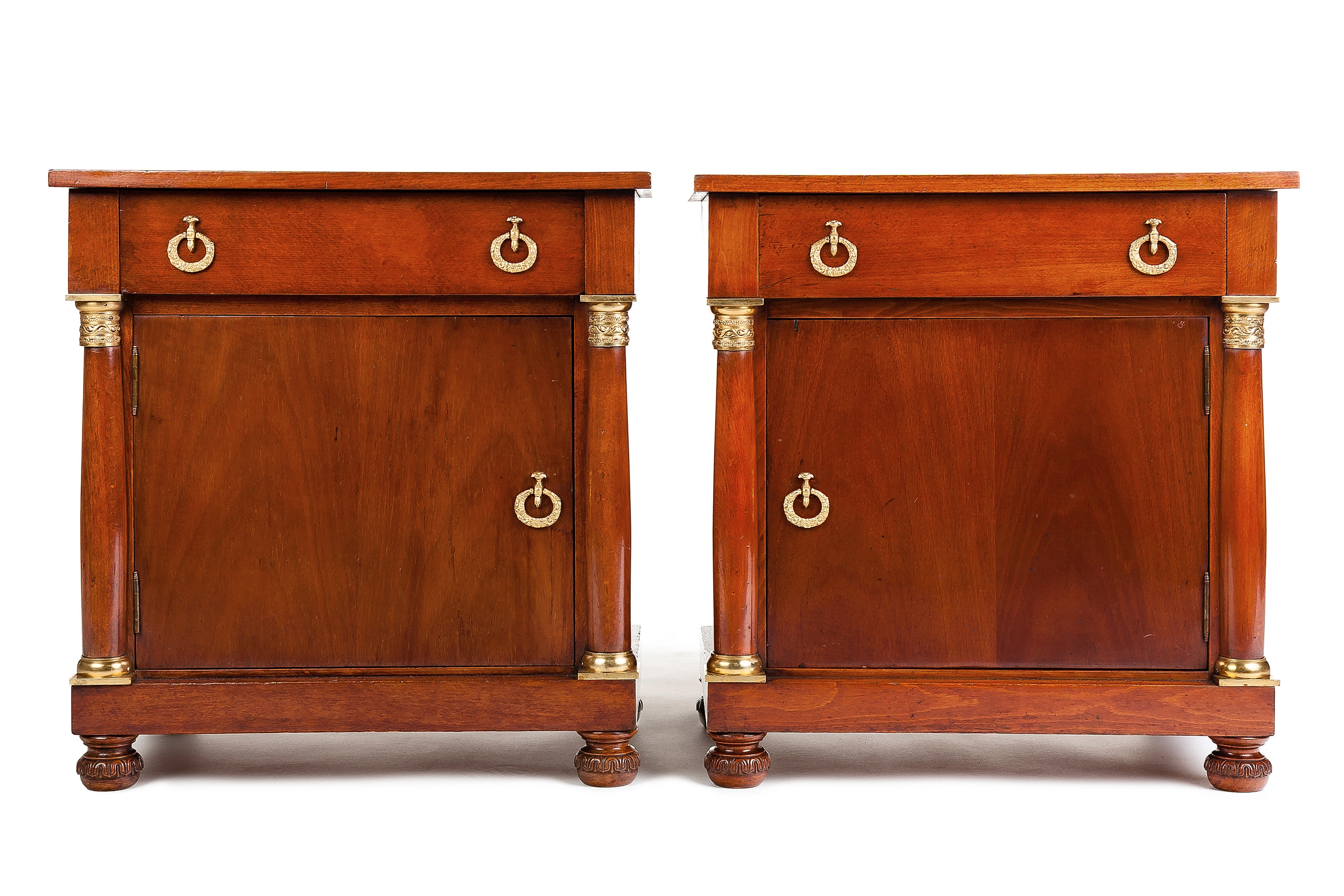 Pair Of Mahogany Empire Revival Bedside Cupboards Or Table De Nuit With Regard To Table Cupboards (Image 22 of 25)