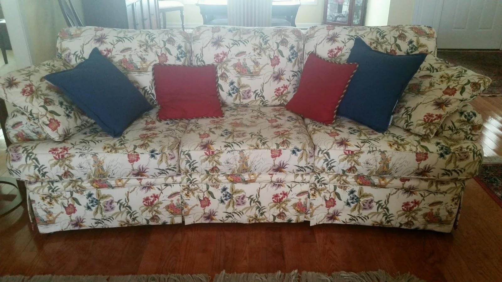 Pam Morris Sews Chunky Linen Slipcover On A Traditional Sofa Regarding Chintz Fabric Sofas (Image 12 of 15)