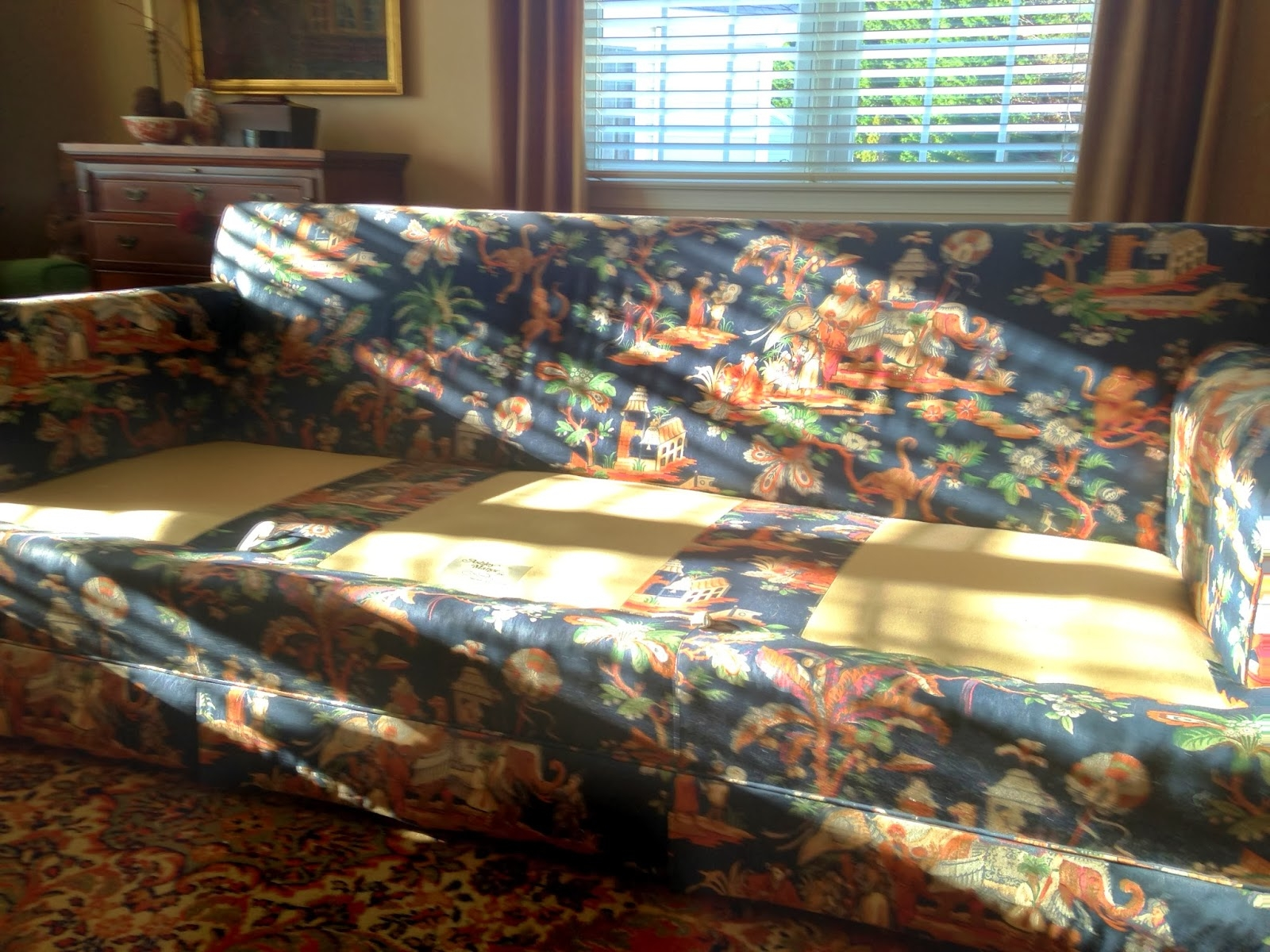 Pam Morris Sews Velvet Sofa Slipcover Throughout Chintz Covered Sofas (Image 12 of 15)