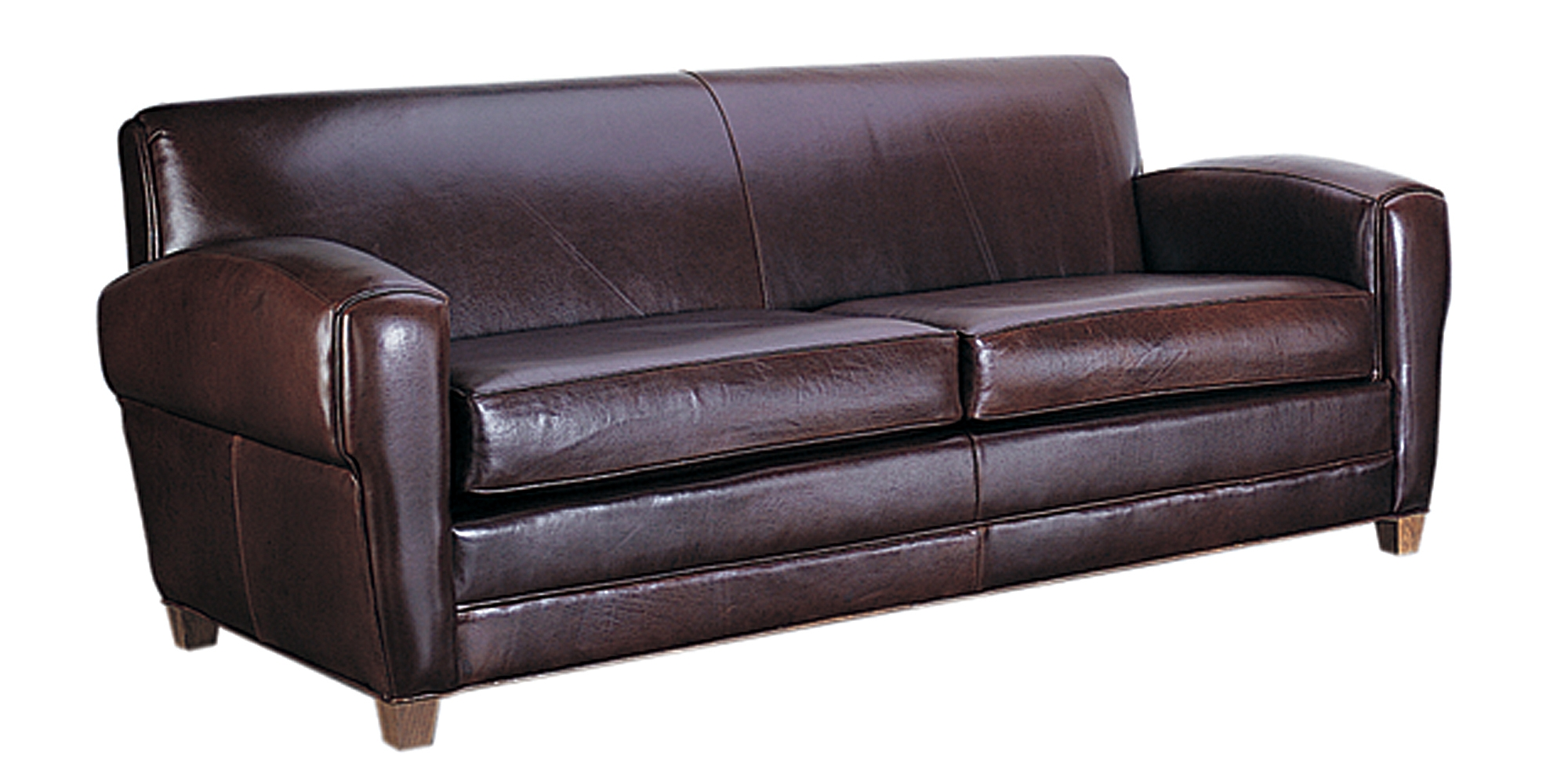 Paris Art Deco Low Profile Italian Leather Sofa With Two Seats Throughout Art Deco Sofa And Chairs (Image 14 of 15)
