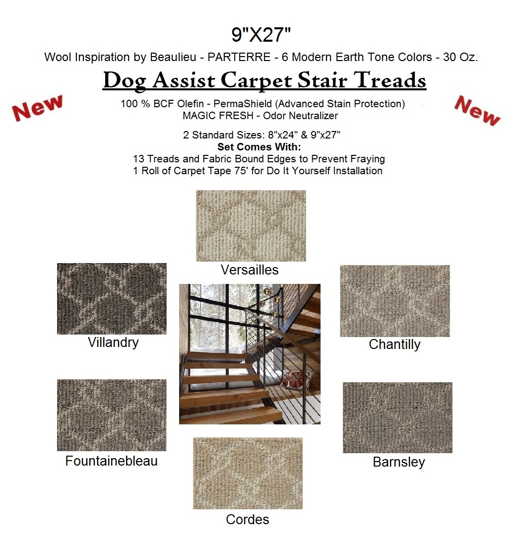 Parterre Ii Dog Assist Carpet Stair Treads Intended For Wool Carpet Stair Treads (View 6 of 15)