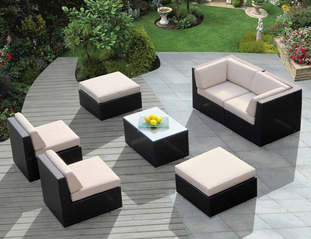 Patio Decor Outdoor Wicker Patio Furniture Sofa Seater Luxury Throughout Outdoor Sofas And Chairs (Image 15 of 15)