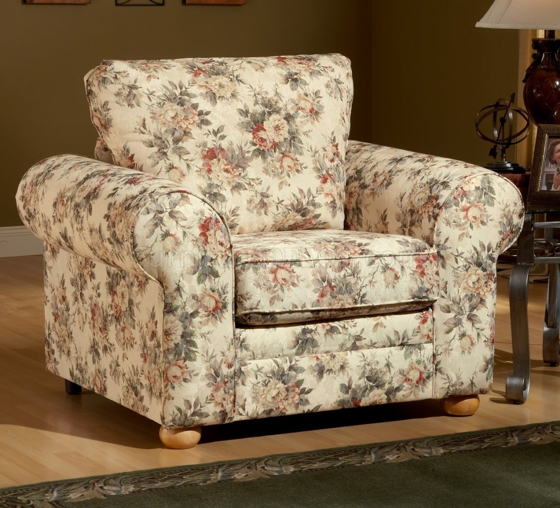 Pattern Fabric Traditional Sofa Loveseat Set For Floral Sofas And Chairs (Image 10 of 15)