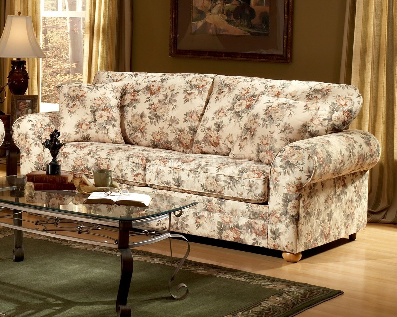 Pattern Fabric Traditional Sofa Loveseat Set Intended For Floral Sofas And Chairs (Image 11 of 15)