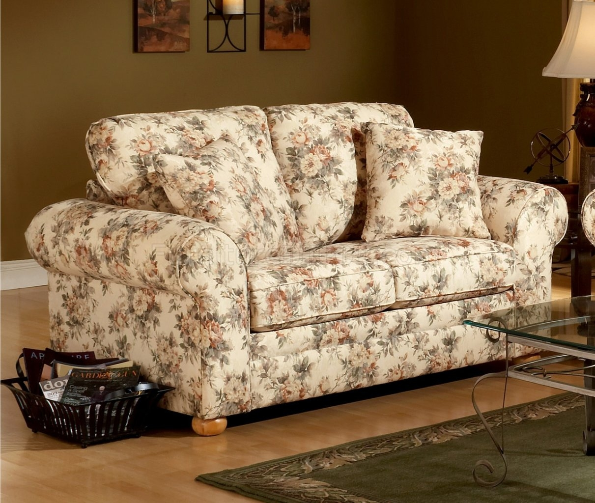 Pattern Fabric Traditional Sofa Loveseat Set With Floral Sofas And Chairs (Image 12 of 15)