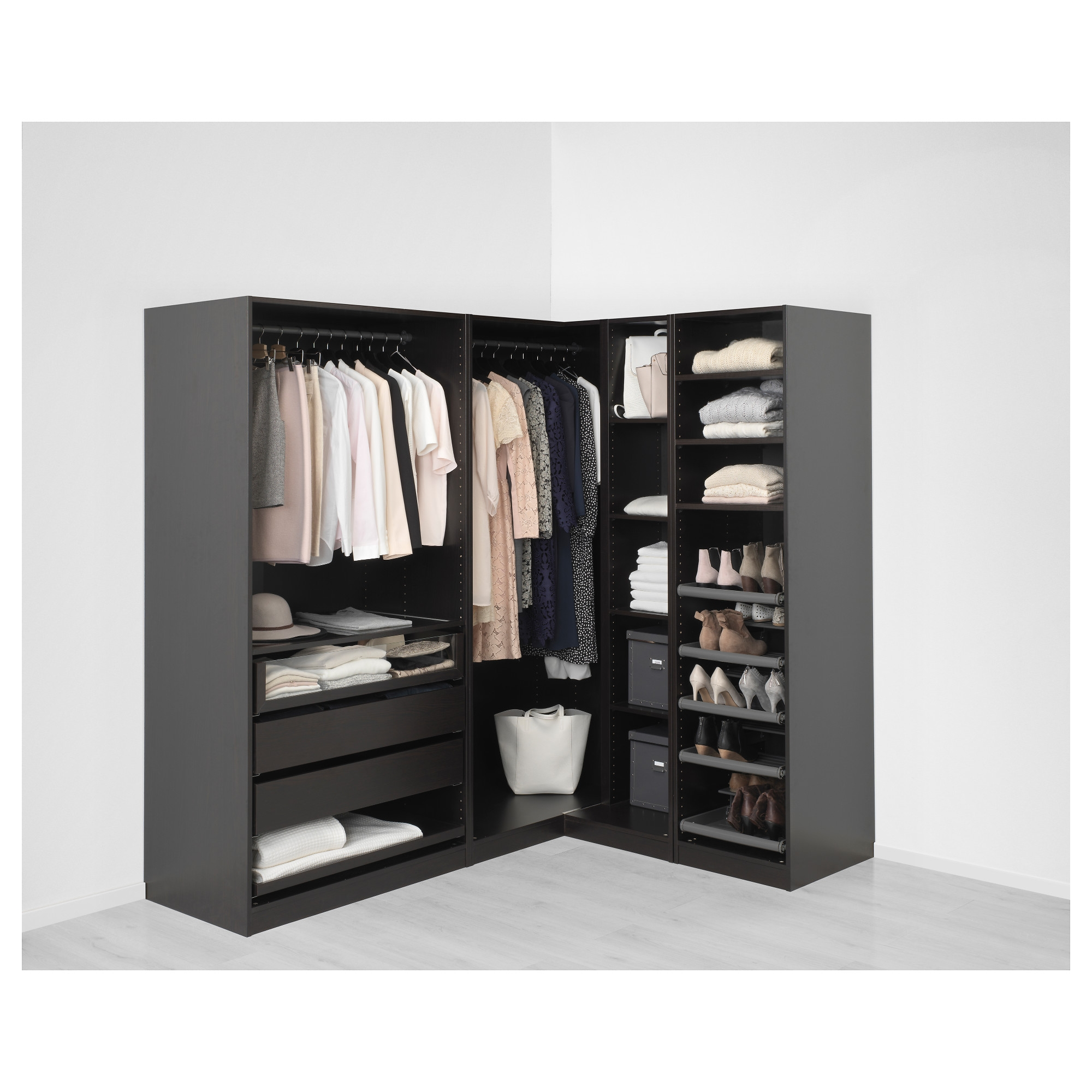 Pax Corner Wardrobe Black Brown Undredalundredal Glass 210 In Corner Wardrobe Closet IKEA (Image 15 of 25)