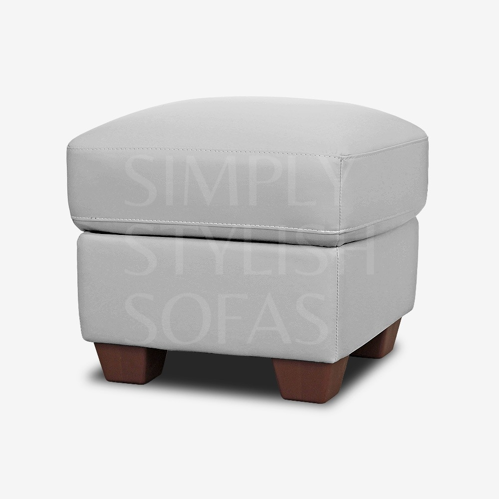 Pebble Grey Leather Footstool Storage Ottoman In Leather Footstools And Pouffes (Image 13 of 15)