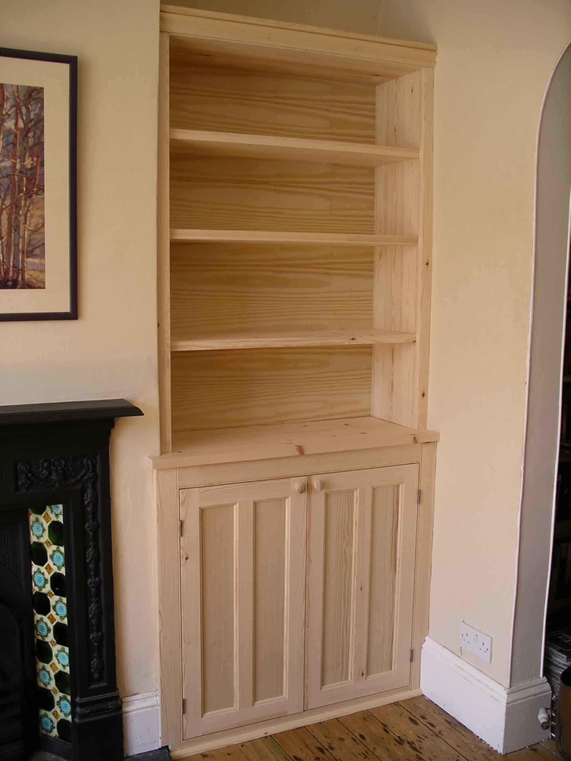 Period Style Alcove Cabinet In Solid Softwood Ready For Painting With Handmade Cupboards (Image 14 of 15)