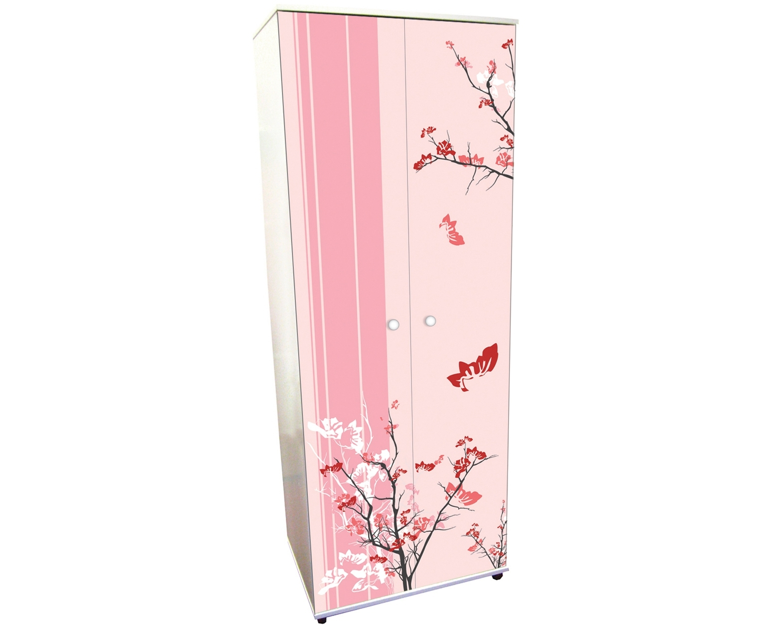 Pink Blossom Wooden Wardrobe With Double Doors Of Magnetizing Idea Regarding Childrens Pink Wardrobes (View 12 of 25)