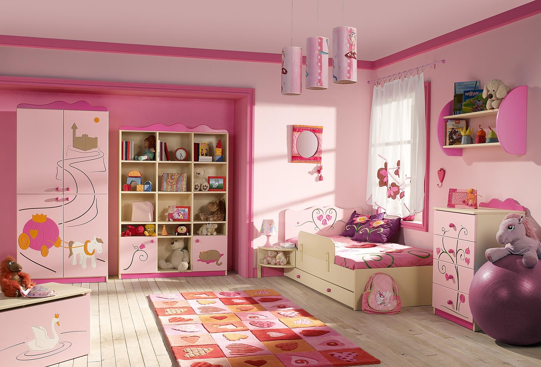 Pink Wooden Wardrobe Next To Pink Wooden Shelves Connected Inside Childrens Pink Wardrobes (Image 21 of 25)