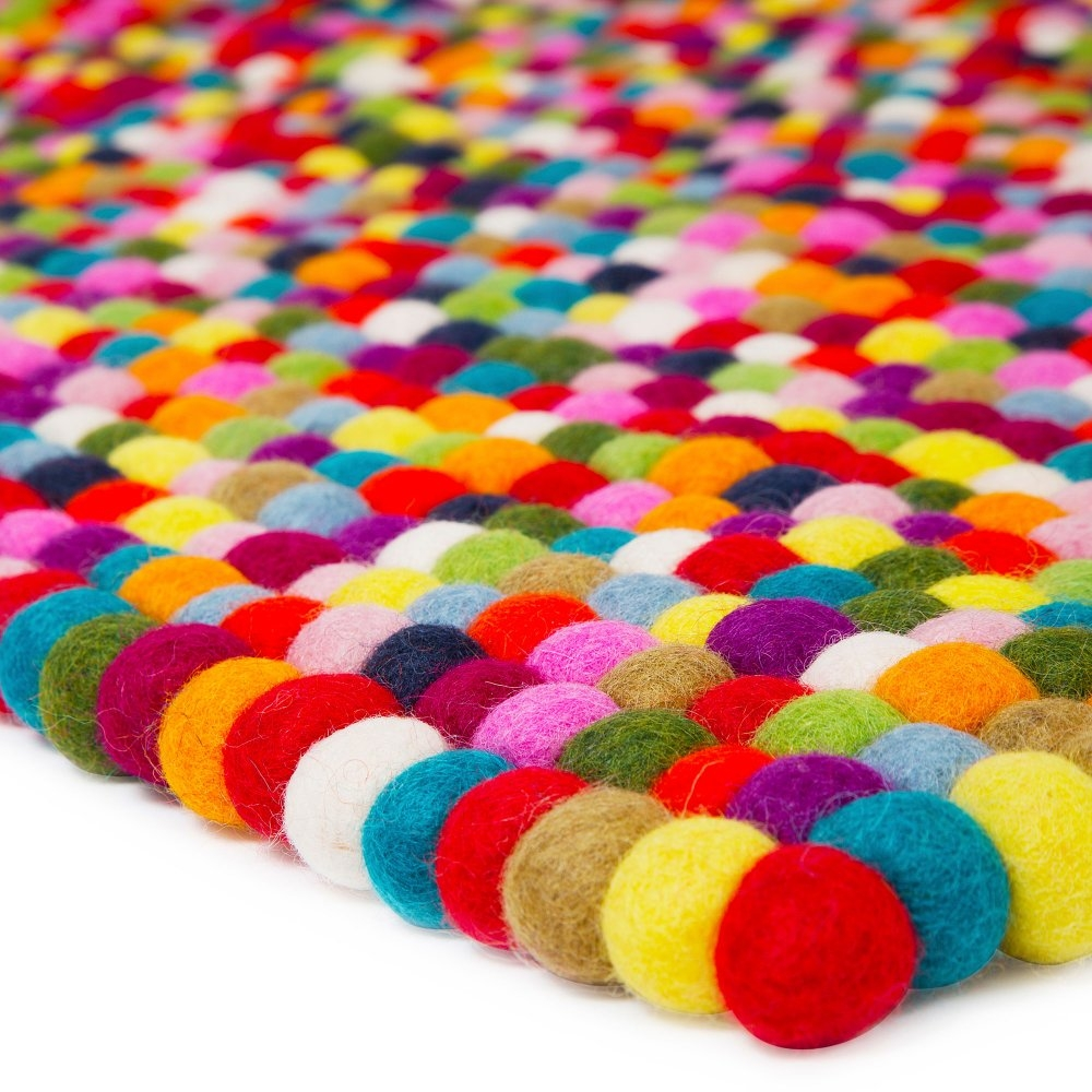 Pinocchio Rectangle Multi Coloured Pom Pom Rug Pinocchio From My Intended For Bobble Rugs (View 8 of 15)