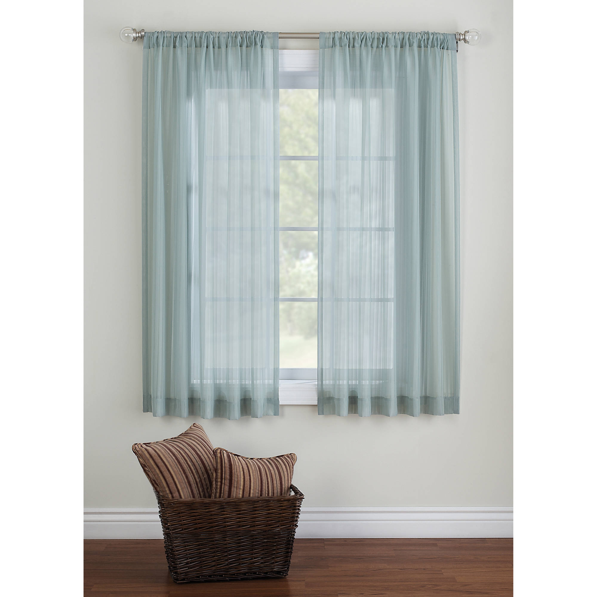 Pintuck Rod Pocket Sheer Curtain Panel Walmart With Curtains Sheers (Image 15 of 25)