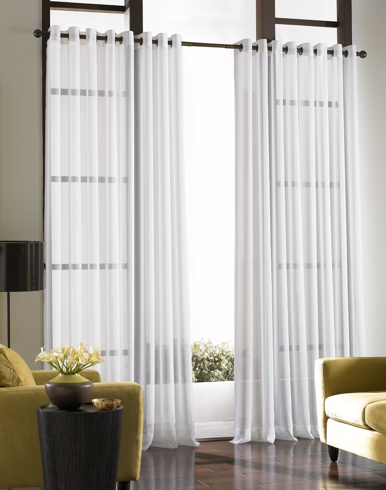 Platinum Voile Flowing Sheer Grommet Curtain Panel Curtainworks Within Sheer White Curtain Panels (Image 14 of 25)