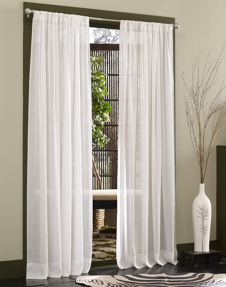 Pleated Sheer Curtain Panels Intended For Sheer White Curtain Panels (Image 15 of 25)