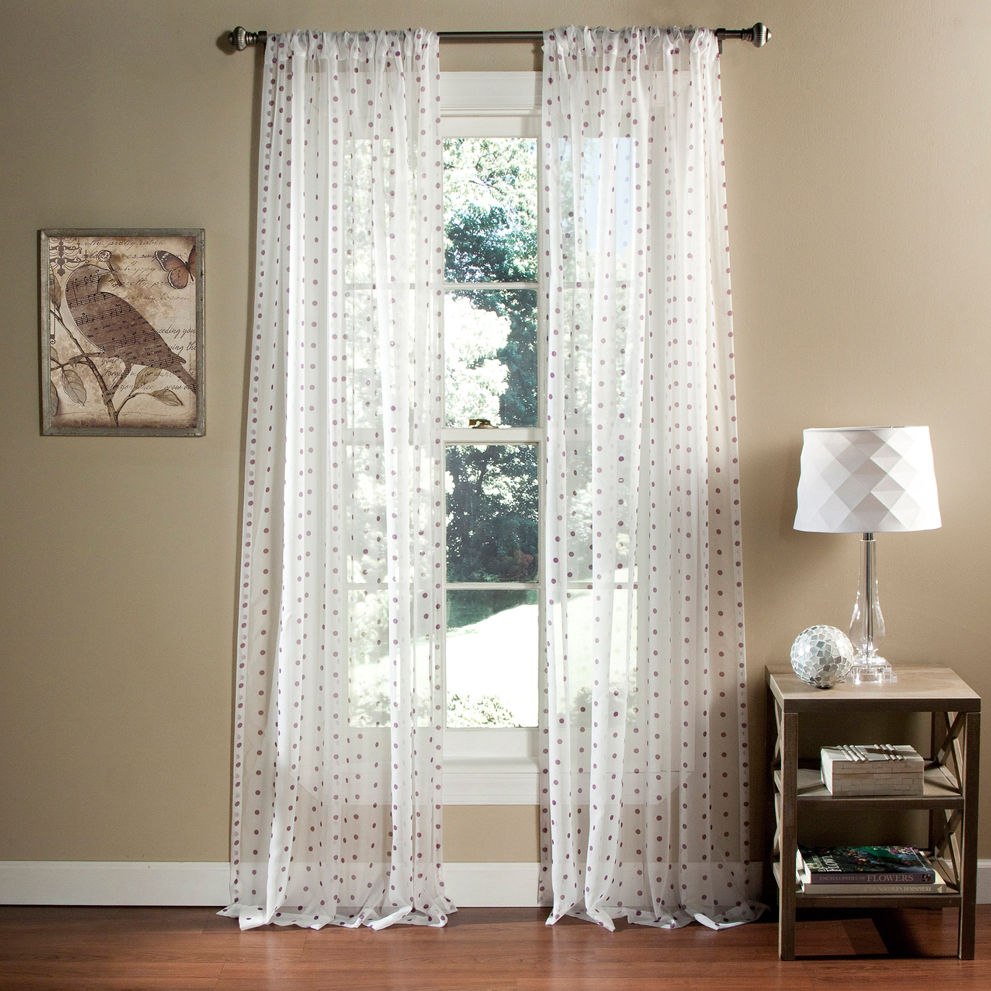 Polka Dot Sheer Window Curtain Set Of 2 Walmart Inside Navy And White Polka Dot Curtains (Image 20 of 25)