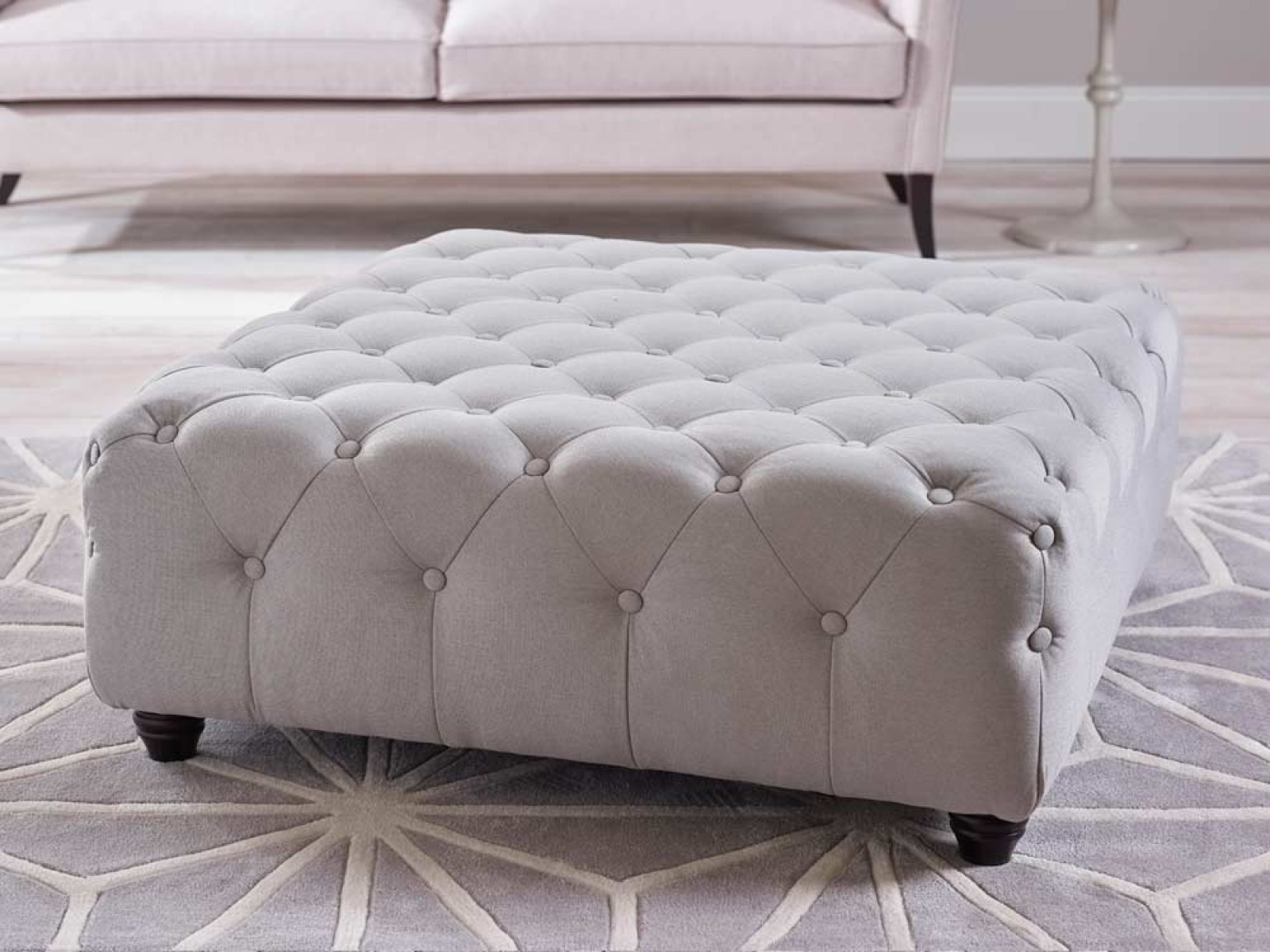 Poppy Upholstered Buttoned Footstool Living It Up For Upholstered Footstools (Image 9 of 15)