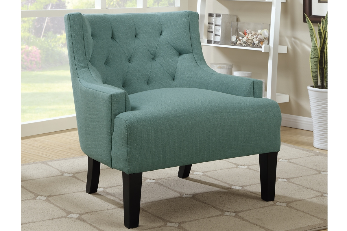Poundex F1414 Blue Wood Accent Chair Steal A Sofa Furniture In Accent Sofa Chairs (Image 15 of 15)