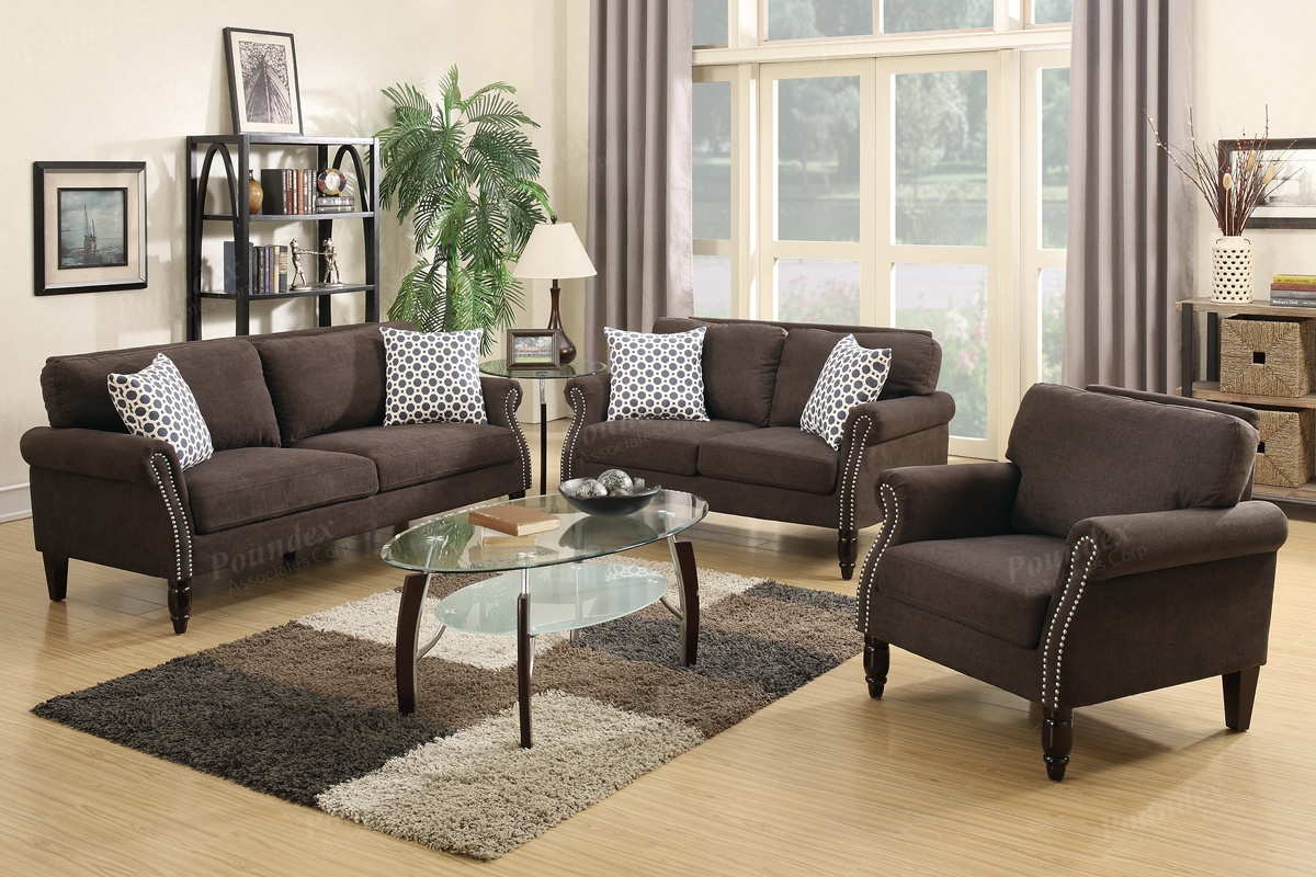 Poundex Hypnos F6924 Brown Fabric Sofa Loveseat And Chair Set In Sofa Loveseat And Chair Set (Image 6 of 15)