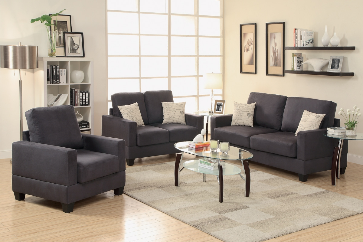Poundex Rebel F7911 Grey Fabric Sofa Loveseat And Chair Set In Sofa Loveseat And Chairs (View 2 of 15)