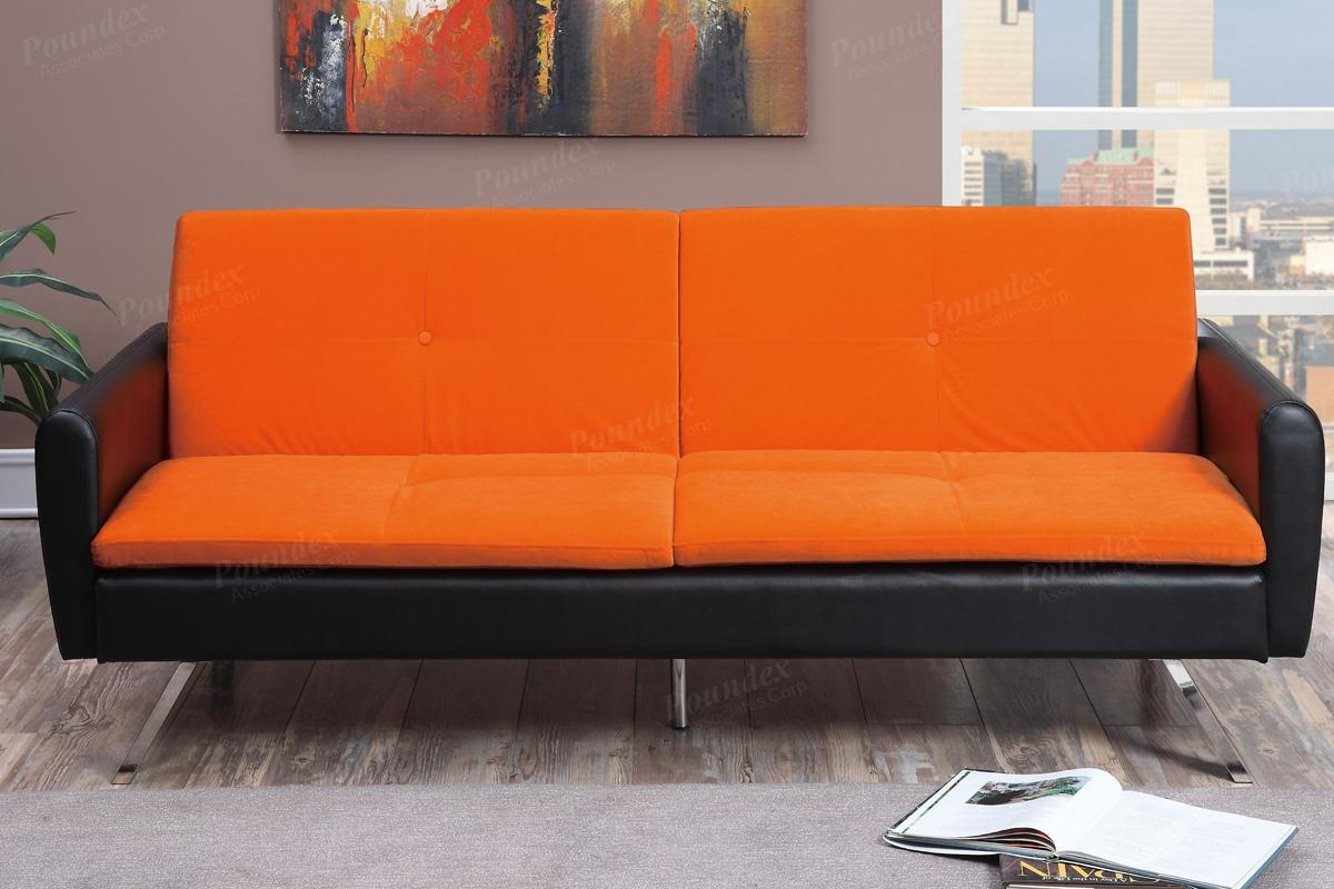 Poundex Zed F7079 Orange Leather Sofa Bed Steal A Sofa Furniture Pertaining To Orange Sofa Chairs (Image 15 of 15)