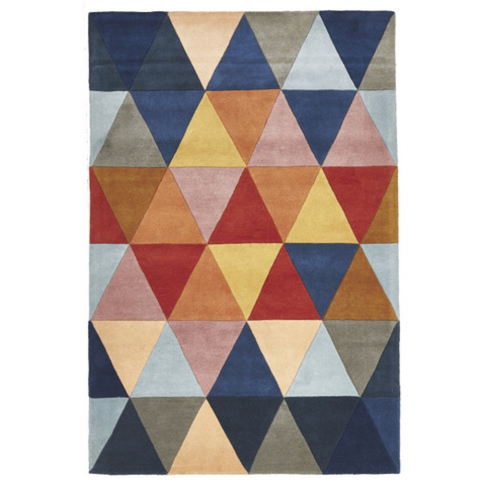 Prism Designer Wool Rug Rust Blue Navy Free Shipping Australia Inside Wool Hall Runners (Image 15 of 15)