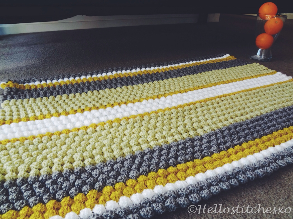 Puff Bobble Stitch Blanket Rug Hellostitchesxo In Bobble Rugs (View 6 of 15)