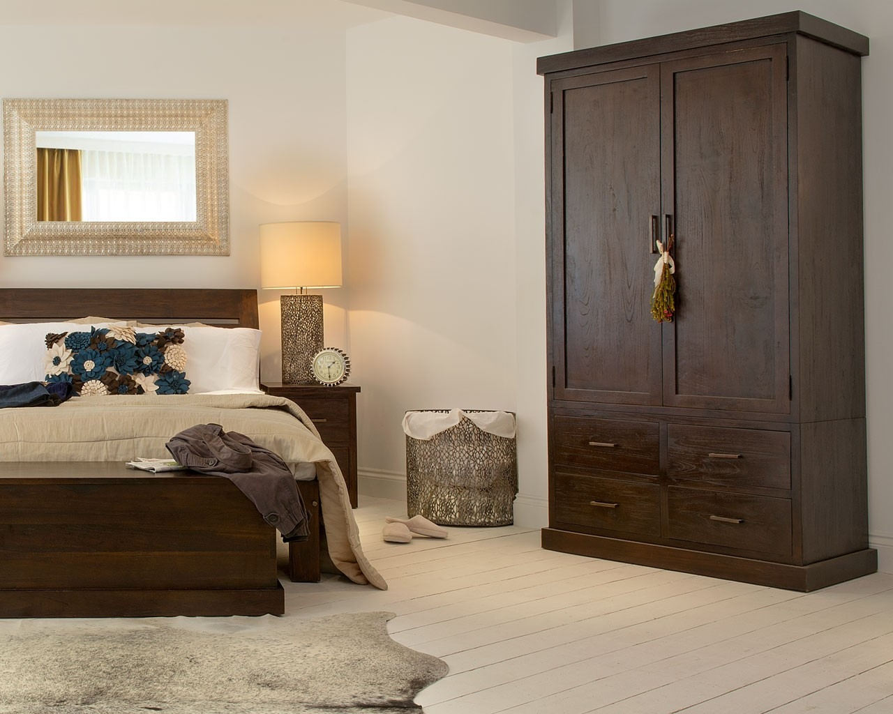 Puji Reclaimed Teak Wardrobes Dark Wood Gents Wardrobe Throughout Solid Dark Wood Wardrobes (Image 9 of 15)
