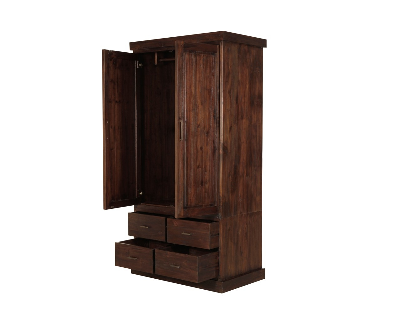 Puji Reclaimed Teak Wardrobes Dark Wood Gents Wardrobe With Dark Wardrobes (Image 12 of 15)