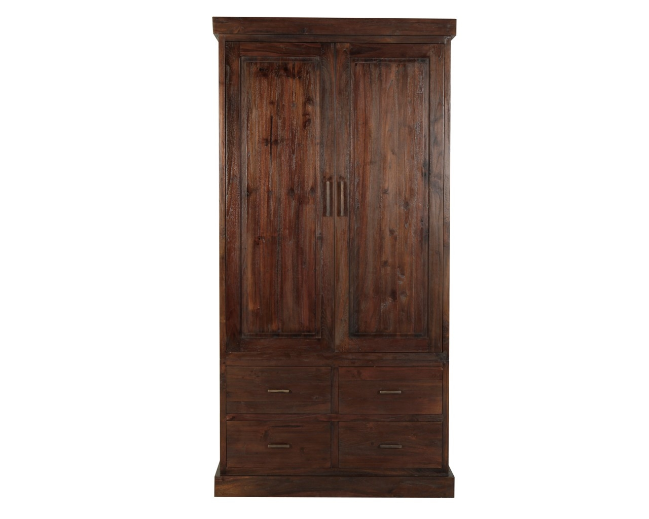 Puji Reclaimed Teak Wardrobes Dark Wood Gents Wardrobe Within Dark Wardrobes (Image 13 of 15)