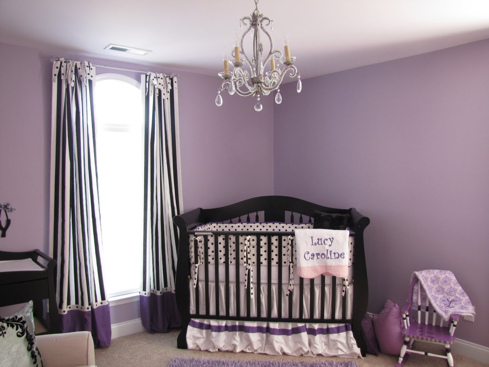 Purple Wall Theme And Purple Blanket On White Wooden Bed Added In Purple Curtains For Kids Room (Image 22 of 25)