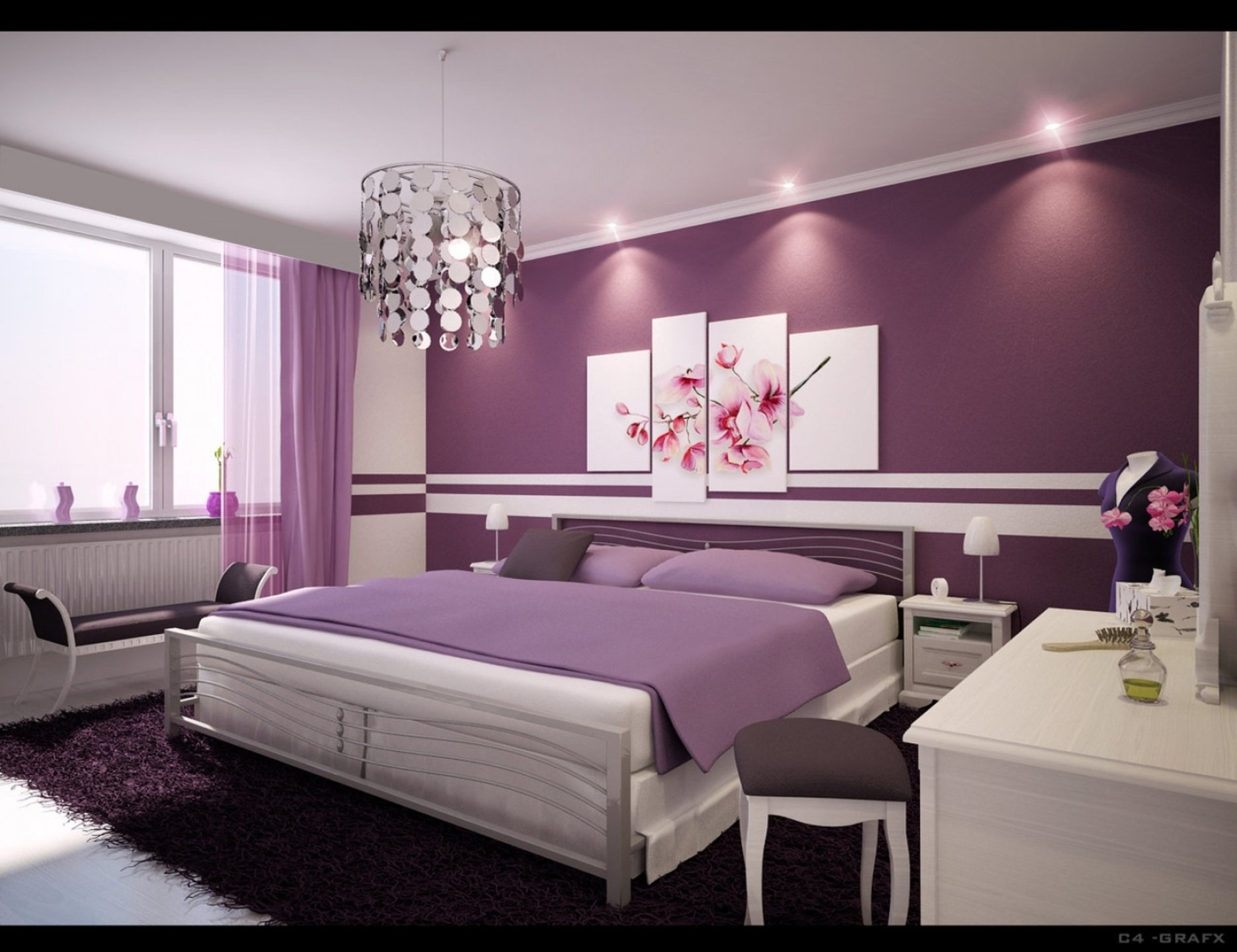Purple Wall Theme And Purple Blanket On White Wooden Bed Added Pertaining To Purple Curtains For Kids Room (Image 23 of 25)