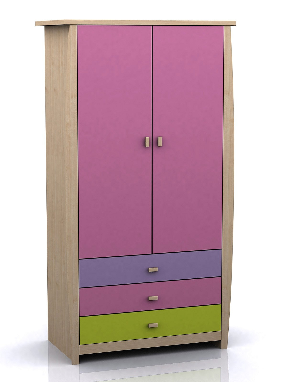 Purple Wooden Wardrobe With Double Doors And Three Drawers Of Throughout Childrens Pink Wardrobes (Image 22 of 25)