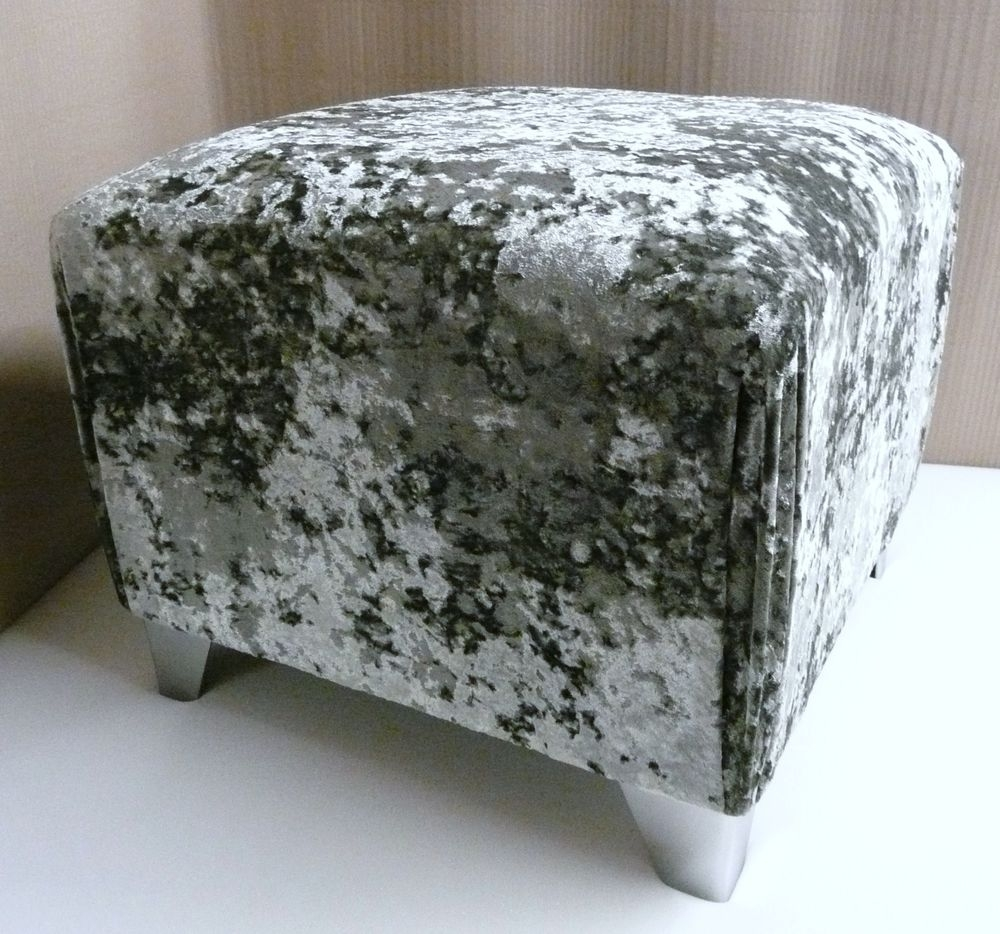 Quality Silver Crushed Velvet Footstool Pouffe With Chrome Legs For Velvet Footstool (Image 15 of 15)
